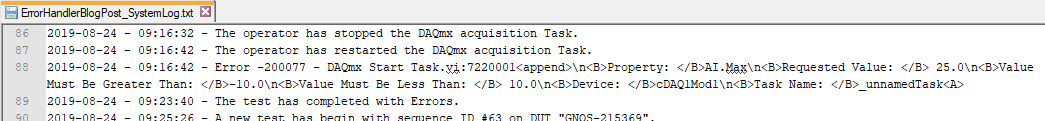 Detailed system log trace of application execution