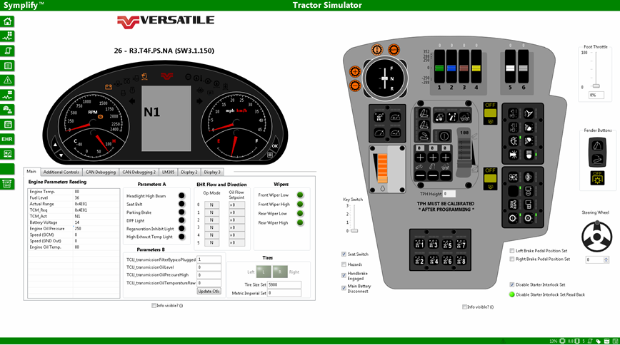 Intuitive interface in LabVIEW for tractor simulator