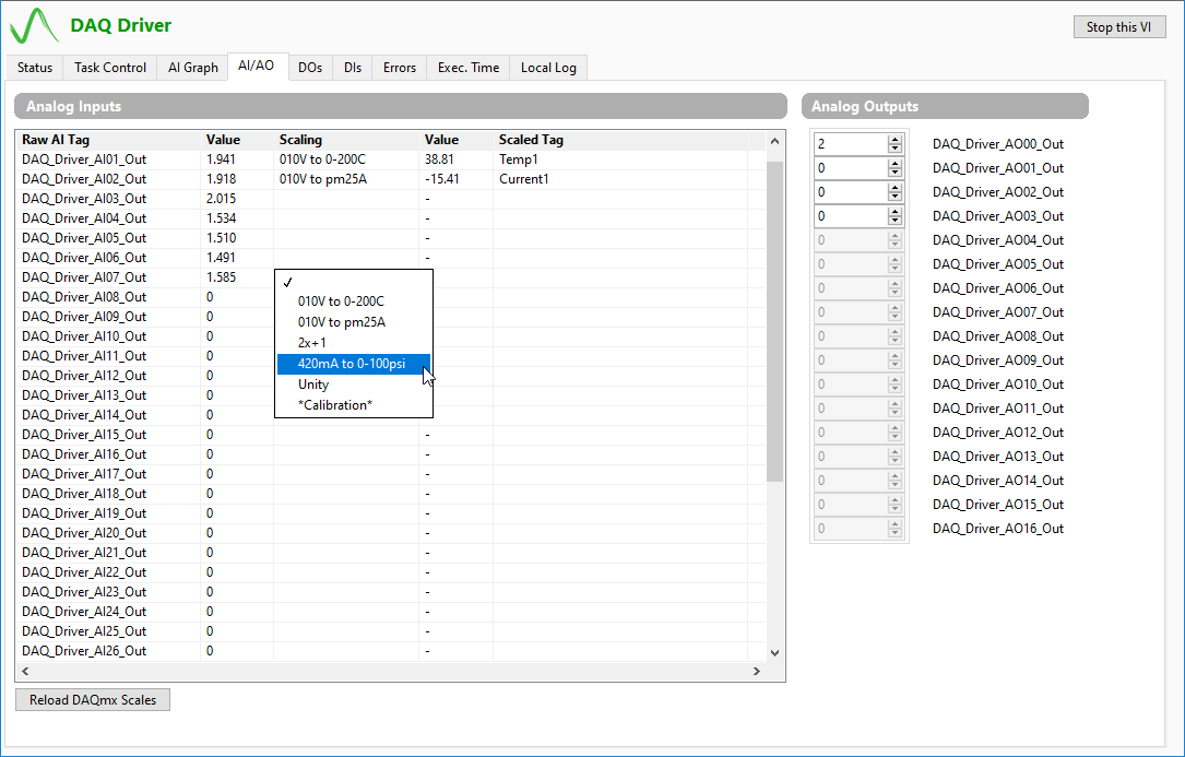 Configuration of Symplify DAQ driver